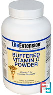 Buffered Vitamin C Powder, Life Extension, 16 oz (454 g)