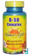 B- 50 Complex, Nature's Life, 100 Tablets