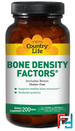 Bone Density Factors, Includes Boron, Country Life, 200 Tablets
