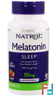 Melatonin, Sleep, Fast Dissolve, Natrol, 10 mg, 60 Tablets