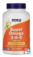 Super Omega 3-6-9, Now Foods, 1200 mg, 180 Softgels