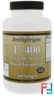 E-400, Healthy Origins, 400 IU, 360 Softgels
