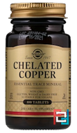 Chelated Copper, Solgar, 2.5 mg, 100 Tablets