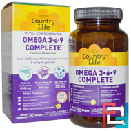 Ultra Concentrated Omega 3-6-9 Complete, Natural Lemon, Country Life, 90 Softgels