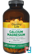 Calcium Magnesium, with Vitamin D Complex, Country Life, 360 Veggie Caps