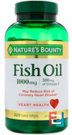 Odor-Less Fish Oil, Nature's Bounty, 1000 mg, 220 Coated Softgels