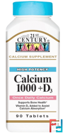 Calcium 1000 + D3, 21st Century, 90 Tablets