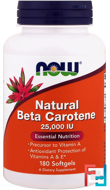 Natural Beta Carotene, Now Foods, 25000 IU, 180 Softgels