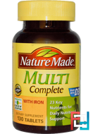 Multi Complete with Iron, Nature Made, 130 Tablets