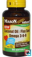 Coconut Oil / Flax Seed Omega 3-6-9, Mason Naturals, 60 Softgels