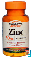 Zinc, High Potency, 50 mg, Sundown Naturals, 100 Caplets