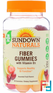 Fiber Gummies with Vitamin D3, Assorted Fruit Flavors, Sundown Naturals, 50 Gummies