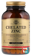 Chelated Zinc, Solgar, 250 Tablets