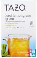 Iced Lemongrass Green Tea, 6 Filterbags, Tazo Teas, 3.15 oz, 89 g
