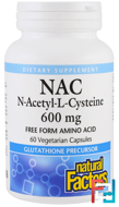 NAC, N-Acetyl-L-Cysteine, Natural Factors, 600 mg, 60 Vegetarian Capsules