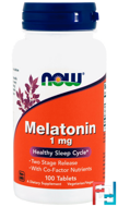 Melatonin, Now Foods, 1 mg, 100 Tablets