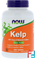 Kelp, Now Foods, 150 mcg, 200 Tablets
