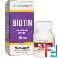 Biotin, 1000 mcg, Superior Source, 100 MicroLingual Instant Dissolve Tablets