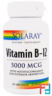 Vitamin B-12, 5000 mcg, Solaray, 30 Sublingual Lozenges