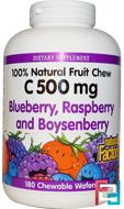C 500 mg, Blueberry, Raspberry and Boysenberry, Natural Factors, 180 Chewable Wafers