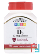 Vitamin D3, Chewable, Orange Flavor, 21st Century, 400 IU, 110 Tablets