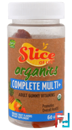 Slice of Life, Organics, Complete Multi+, Adult Gummy Vitamins, Organic Fruit Flavors , Hero Nutritional Products, 60 Gummies