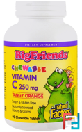 Big Friends, Chewable Vitamin C, Tangy Orange, Natural Factors, 250 mg, 90 Chewable Wafers