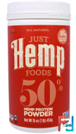 50% Hemp Protein Powder, Just Hemp Foods, 16 oz, 454 g