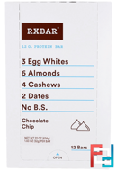 Protein Bars, Chocolate Chip, RXBAR, 12 Bars, 1.83 oz (52 g) Each