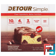 Whey Protein Bars, Salted Caramel Cookie Dough, Detour, Simple, 9 Bars, 1.1 oz (30 g) Each