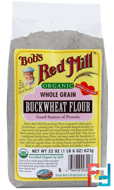Organic Whole Grain Buckwheat Flour, Bob's Red Mill, 22 oz (623 g)