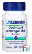 Optimized Ashwagandha Extract, Life Extension, 60 Veggie Caps