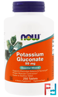 Potassium Gluconate, 99 mg, Now Foods, 250 Tablets