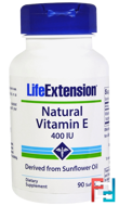 Natural Vitamin E, 400 IU, Life Extension, 90 Softgels
