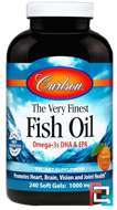 The Very Finest Fish Oil, Natural Orange Flavor, Carlson Labs, 1,000 mg, 240 Softgels