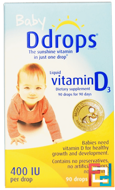 Baby, Liquid Vitamin D3, 400 IU, Ddrops, 0.08 fl oz, 2.5 ml, 90 Drops