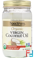 Organic Virgin Coconut Oil, Unrefined, Spectrum Naturals, 14 fl oz (414 ml)
