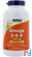 Omega 3-6-9, Now Foods, 1000 mg, 250 Softgels