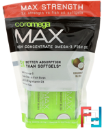 Max, Super High Omega-3 Fish Oil, Coconut Bliss, 2,400 mg, Coromega, 60 Squeeze Shots, 2.5 g