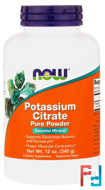 Potassium Citrate Pure Powder, Now Foods, 12 oz, 340 g