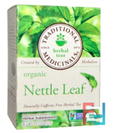 Herbal Teas, Organic Nettle Leaf Herbal Tea, Naturally Caffeine Free, Traditional Medicinals, 16 Wrapped Tea Bags, 1.13 oz, 32 g