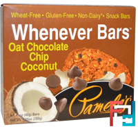 Whenever Bars, Oat Chocolate Chip Coconut, Pamela's Products, 5 Bars, 1.41 oz (40 g) Each