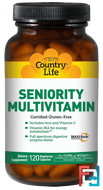 Seniority Multivitamin, Country Life, 120 Veggie Caps