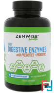 Daily Digestive Enzymes with Prebiotics + Probiotics, Zenwise Health, 180 Vegetarian Capsules