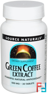 Green Coffee Extract, Source Naturals, 500 mg, 30 Tablets