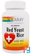 Red Yeast Rice, Solaray, 600 mg, 120 Veggie Caps