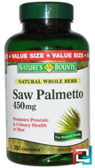 Saw Palmetto, 450 mg, Nature's Bounty, 250 Capsules