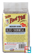 Blue Cornmeal, Medium Grind, Bob's Red Mill, 24 oz (680 g)