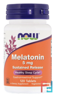 Melatonin, Sustained Release, Now Foods, 5 mg, 120 Tablets
