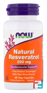 Natural Resveratrol, Now Foods, 200 mg, 60 Veg Capsules